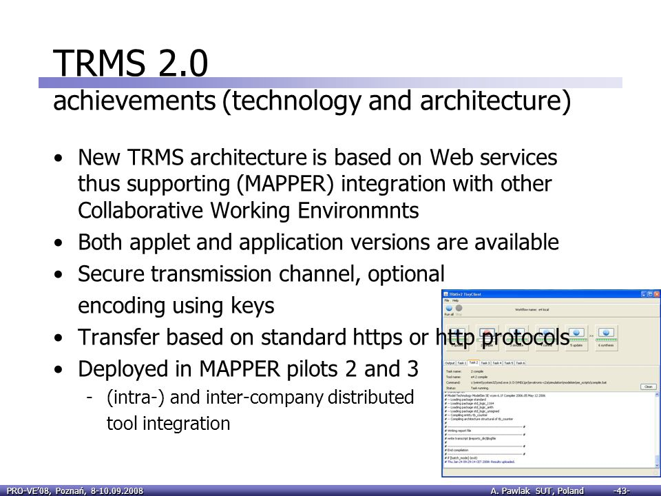 TRMS 2.0 achievements (technology and architecture)
