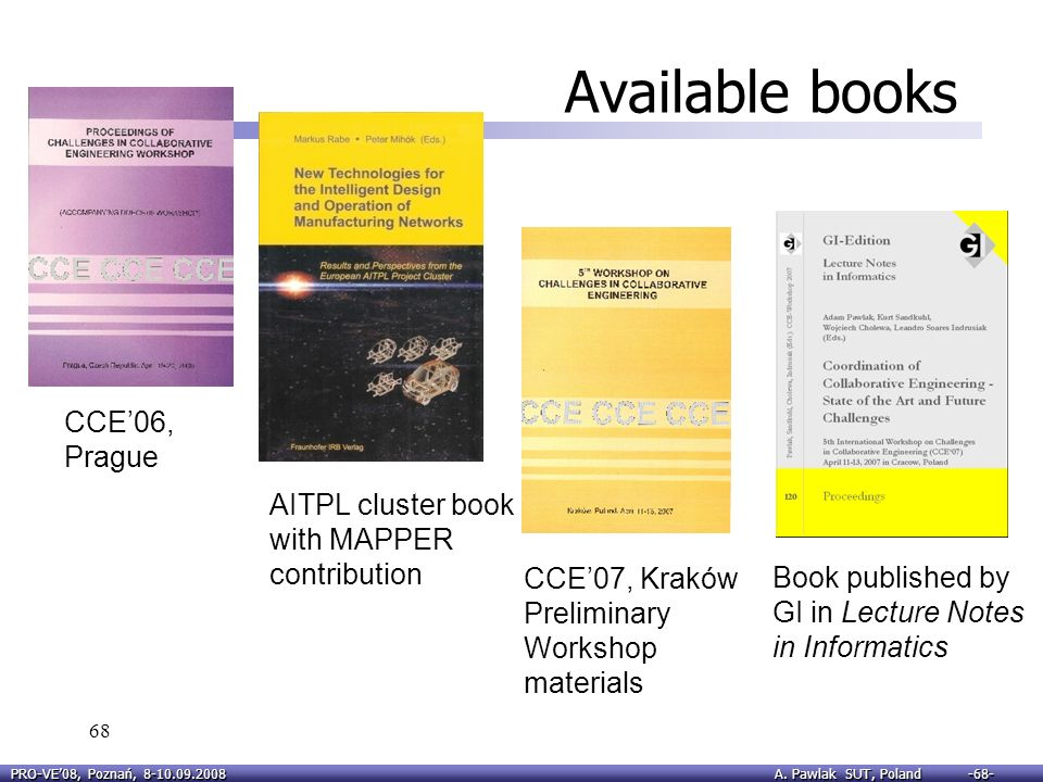 Available books CCE'06, Prague AITPL cluster book with MAPPER