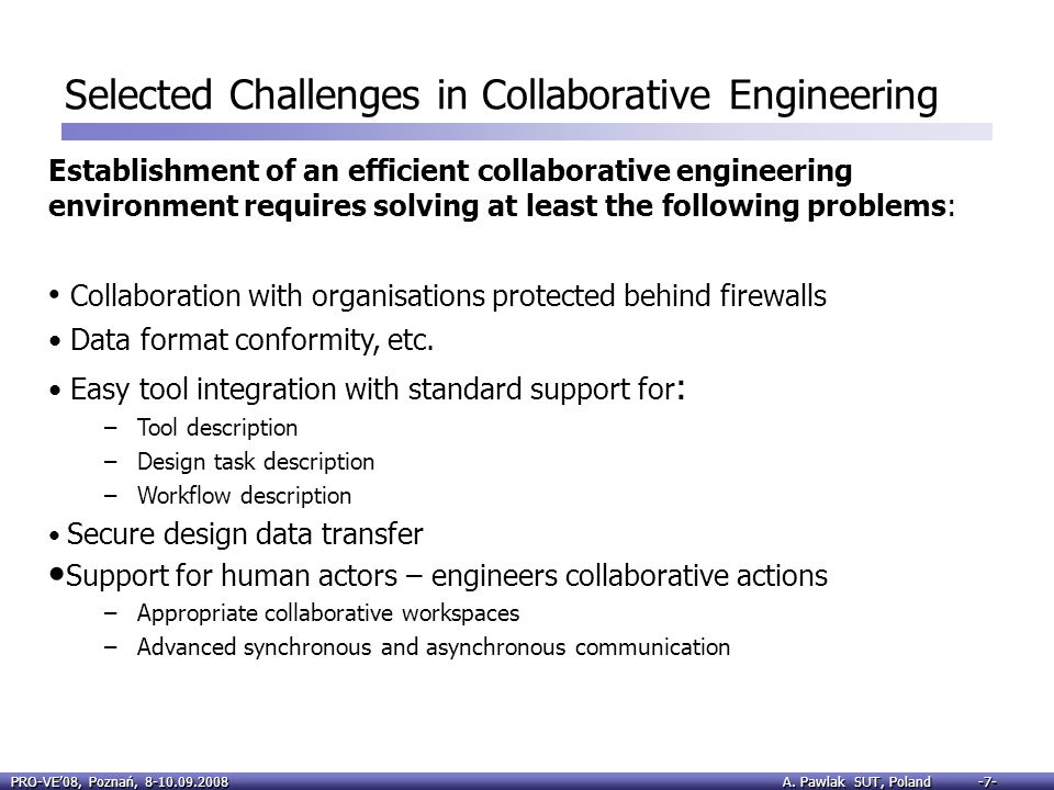 Selected Challenges in Collaborative Engineering