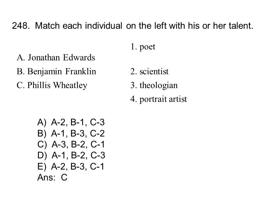 248. Match each individual on the left with his or her talent.
