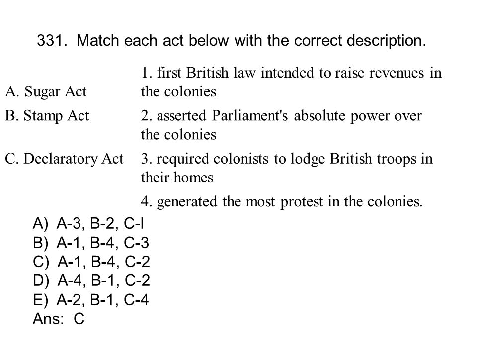 331. Match each act below with the correct description.