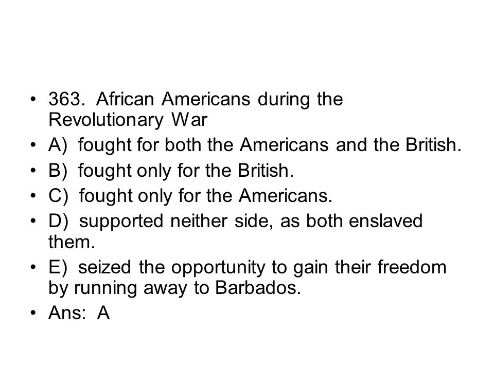 363. African Americans during the Revolutionary War