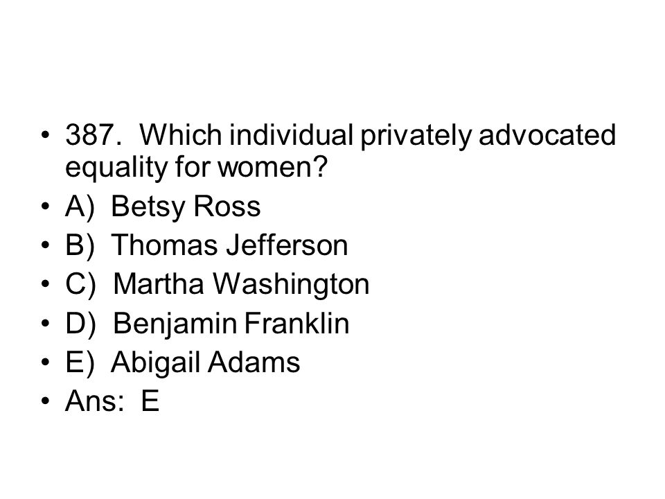 387. Which individual privately advocated equality for women