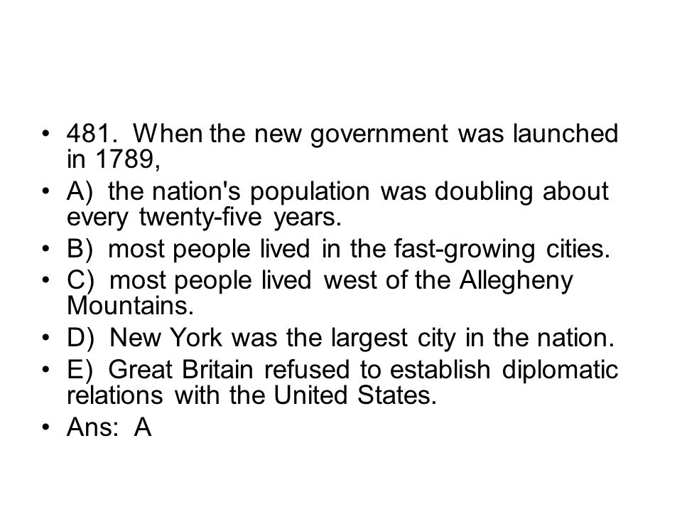 481. When the new government was launched in 1789,