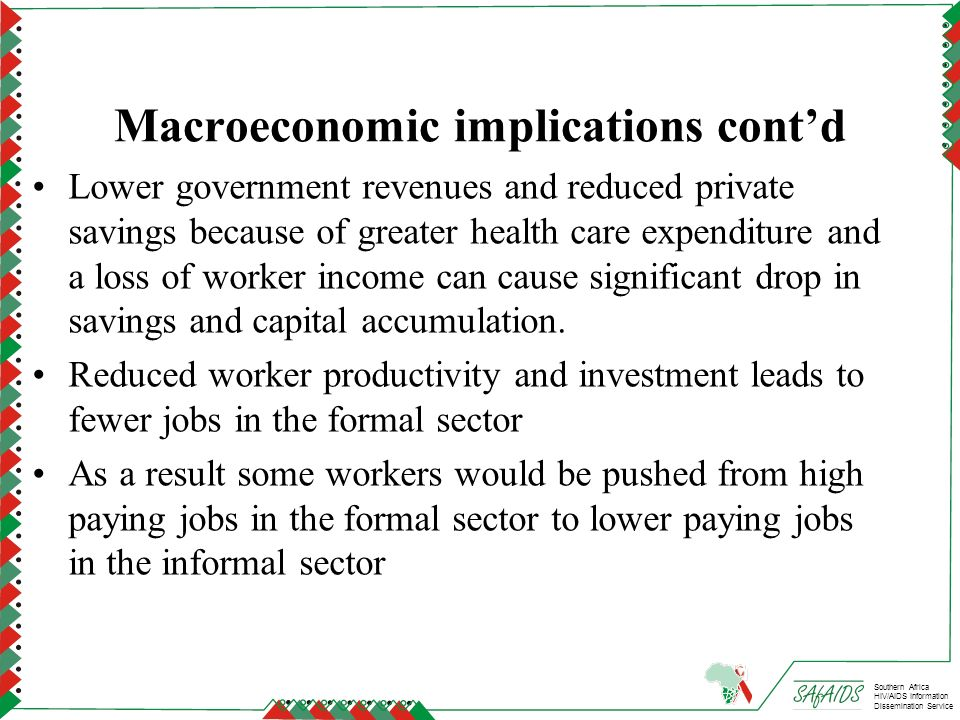 Macroeconomic implications cont'd