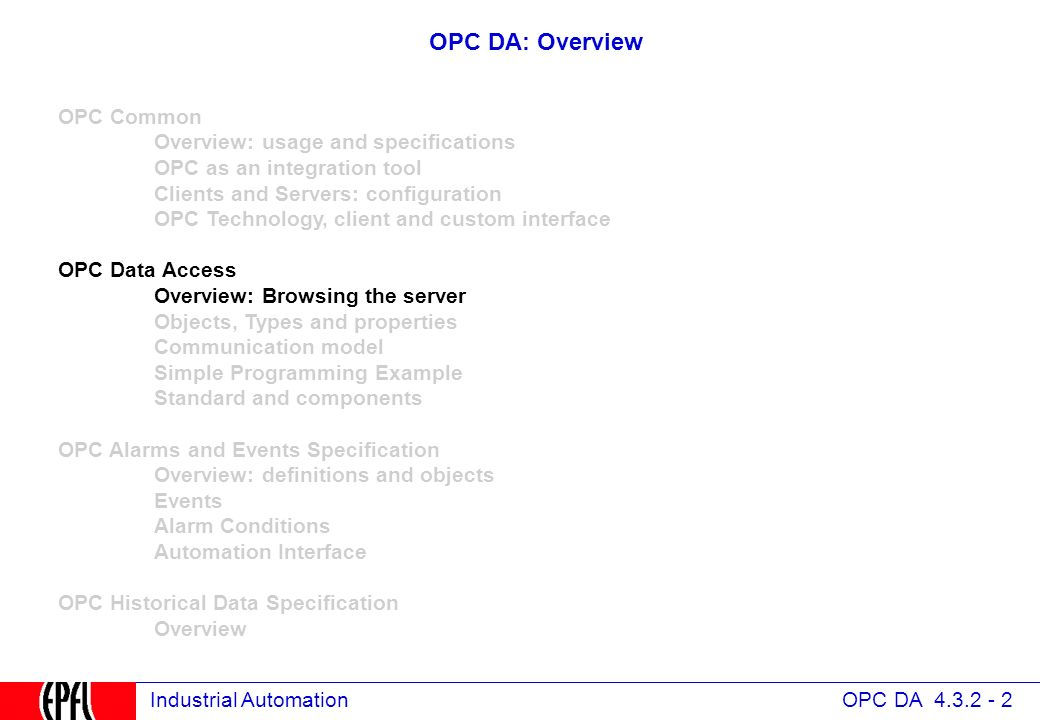 4 3 OPC Data Access Specification - ppt download