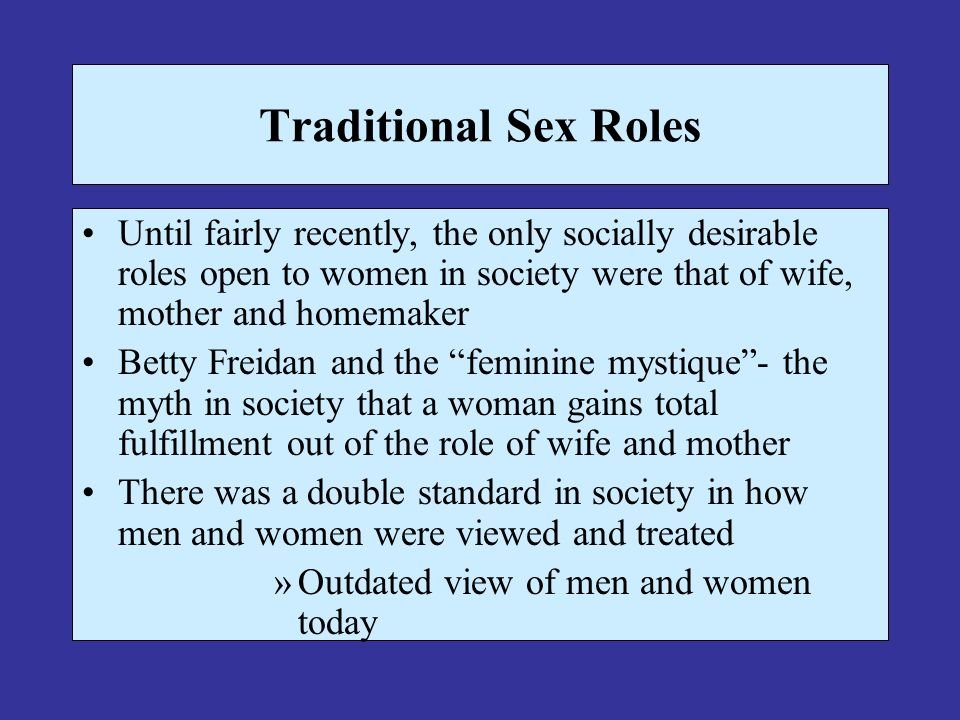 Traditional female sex roles sexuality