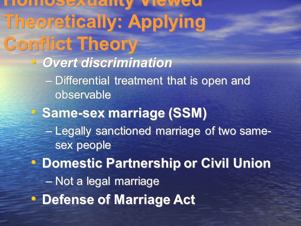 Conflict theory and same sex marriage