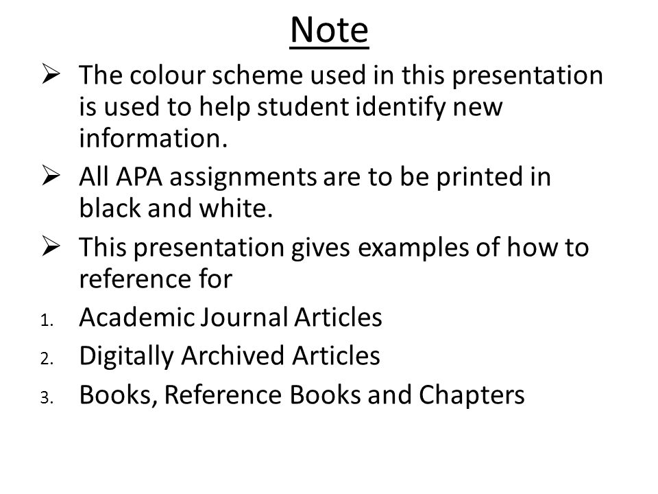 Note The colour scheme used in this presentation is used to help student identify new information.