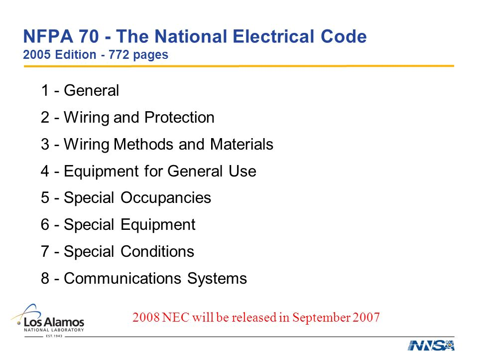 2008 nec codes pertaining to the The national electrical code, 2008 edition, is adopted by reference in r 40830801 (page 1) the provisions set forth in this publication are either added to the national.