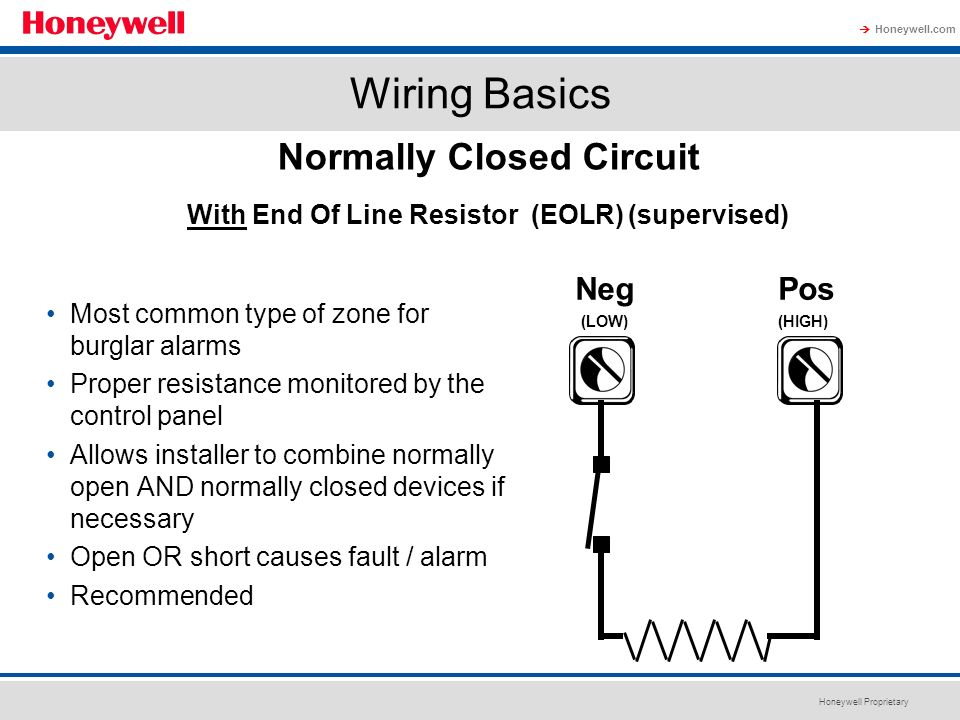Normally Closed Circuit With End Of Line Resistor (EOLR) (supervised)