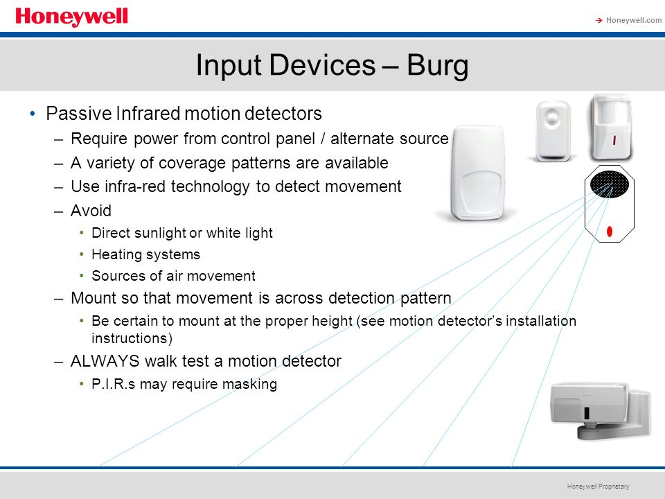 Input Devices – Burg Passive Infrared motion detectors
