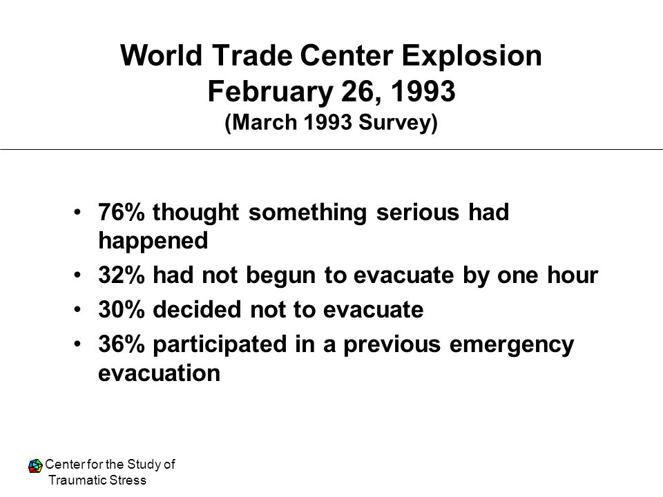 World Trade Center Explosion February 26, 1993 (March 1993 Survey)