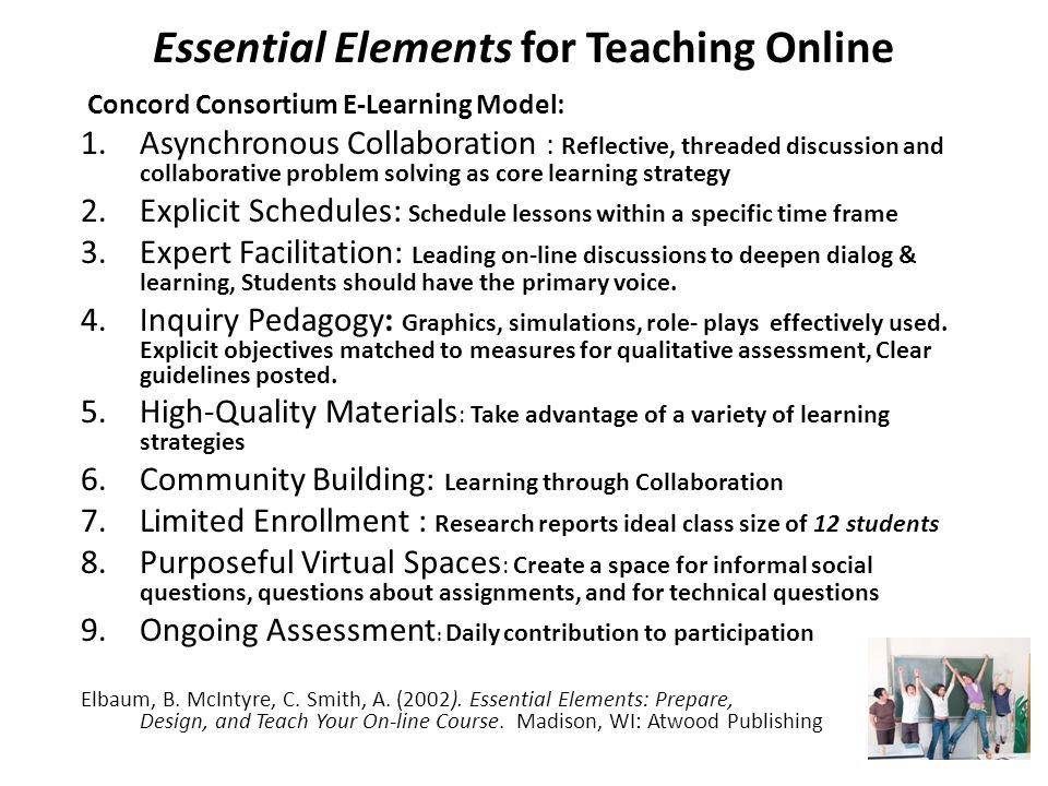 Essential Elements for Teaching Online