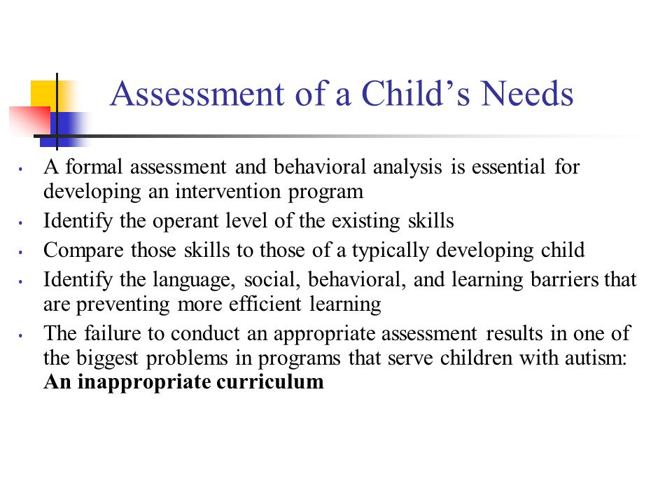 Assessment of a Child's Needs