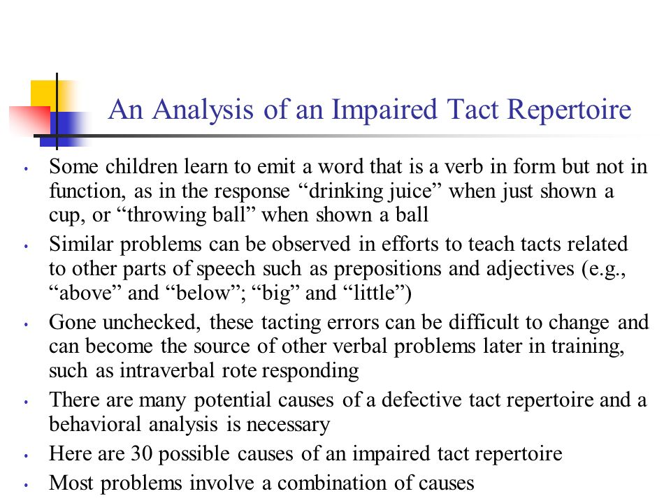An Analysis of an Impaired Tact Repertoire