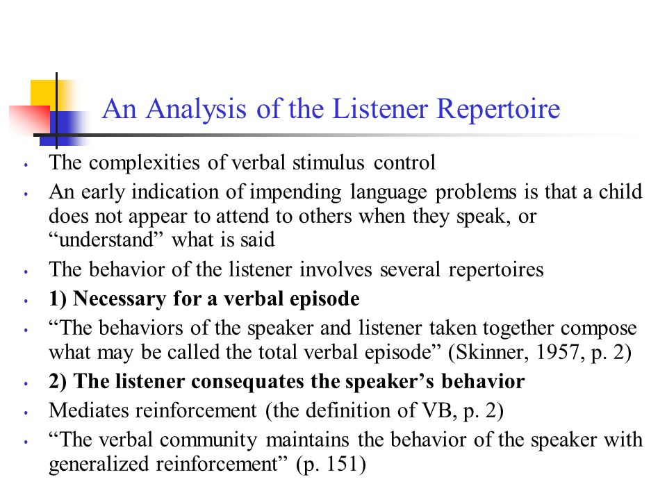 An Analysis of the Listener Repertoire