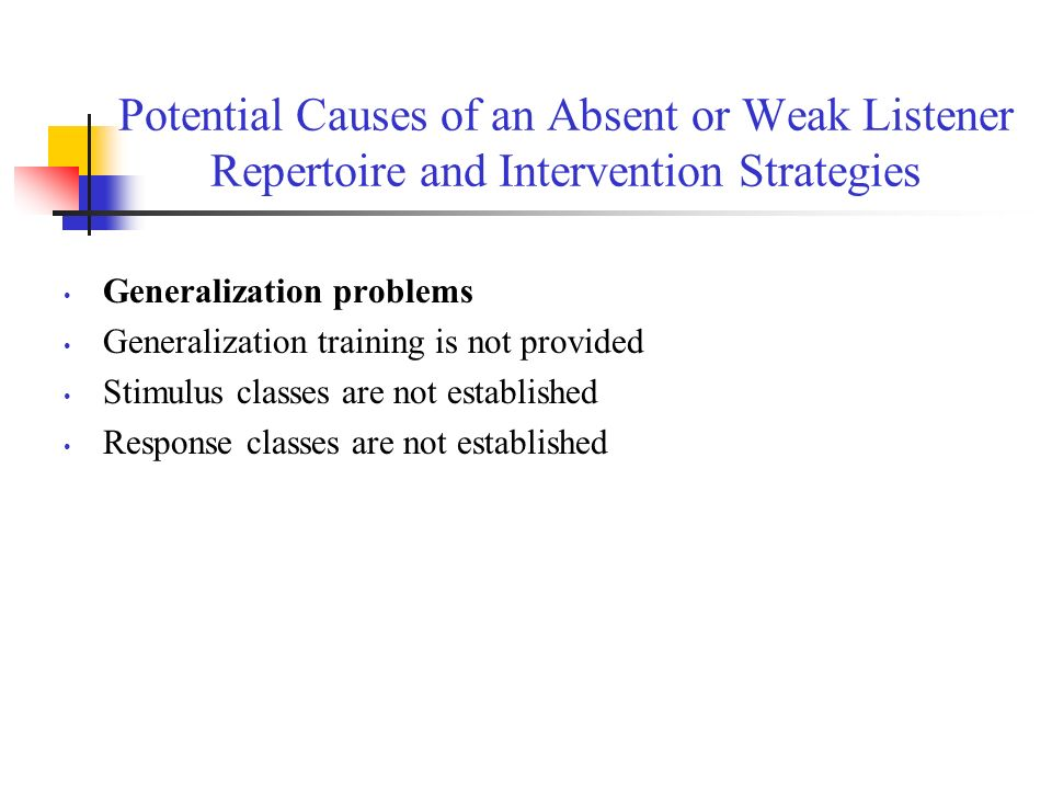 Potential Causes of an Absent or Weak Listener Repertoire and Intervention Strategies