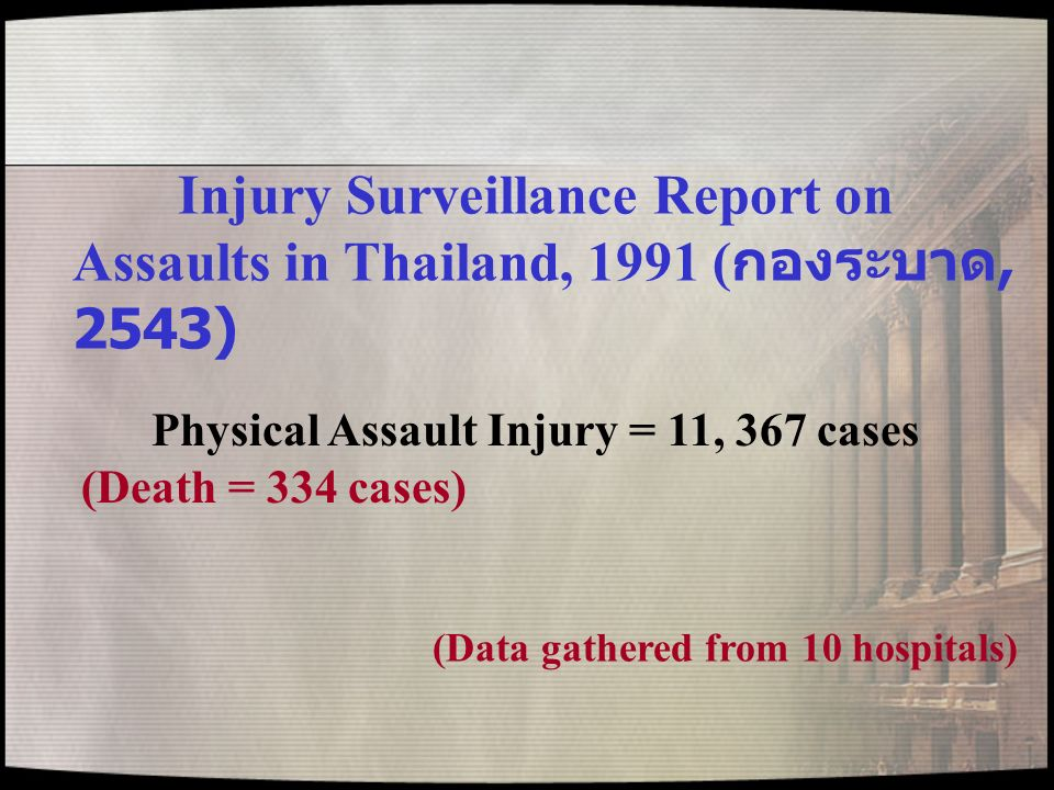 Injury Surveillance Report on Assaults in Thailand, 1991 (กองระบาด, 2543)