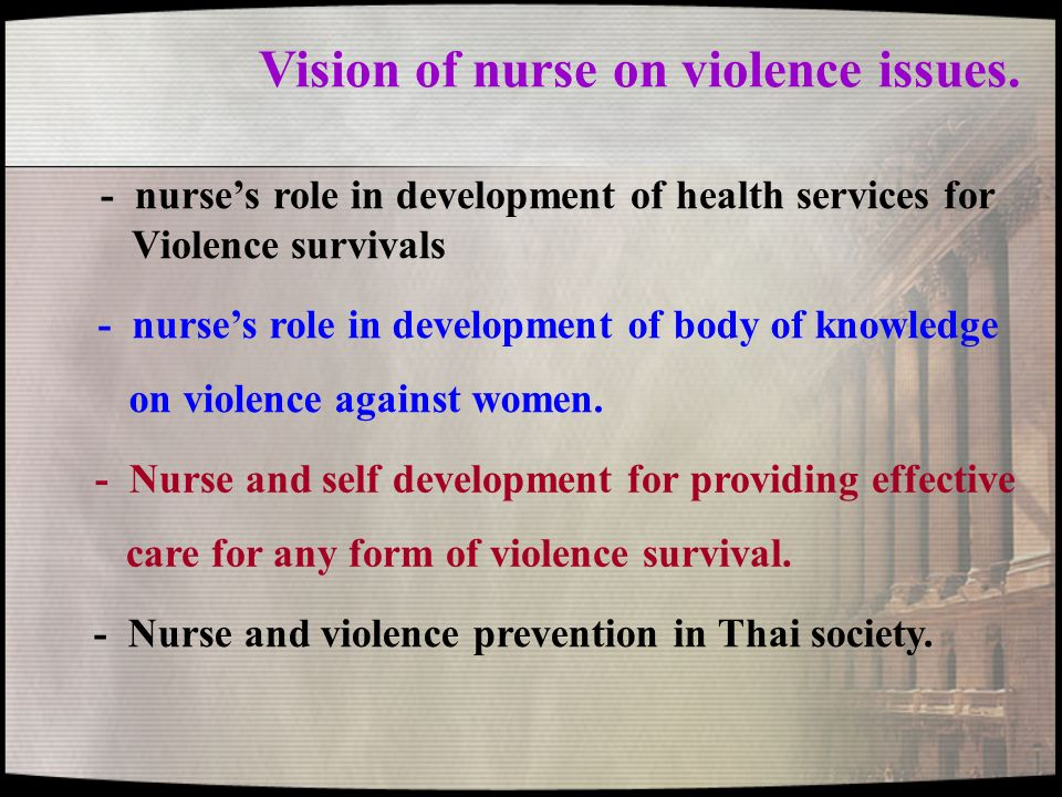 Vision of nurse on violence issues.