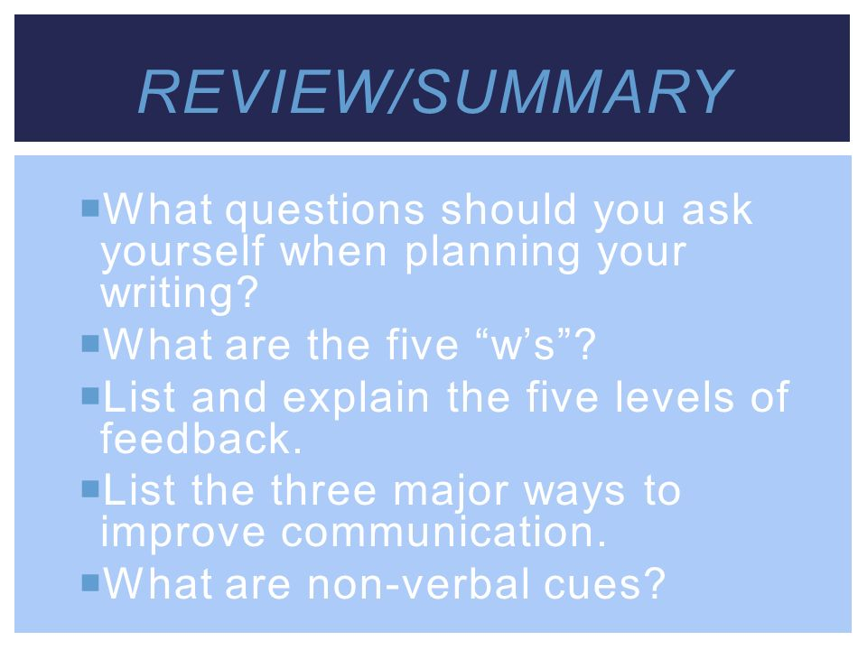 Review/Summary What questions should you ask yourself when planning your writing What are the five w's