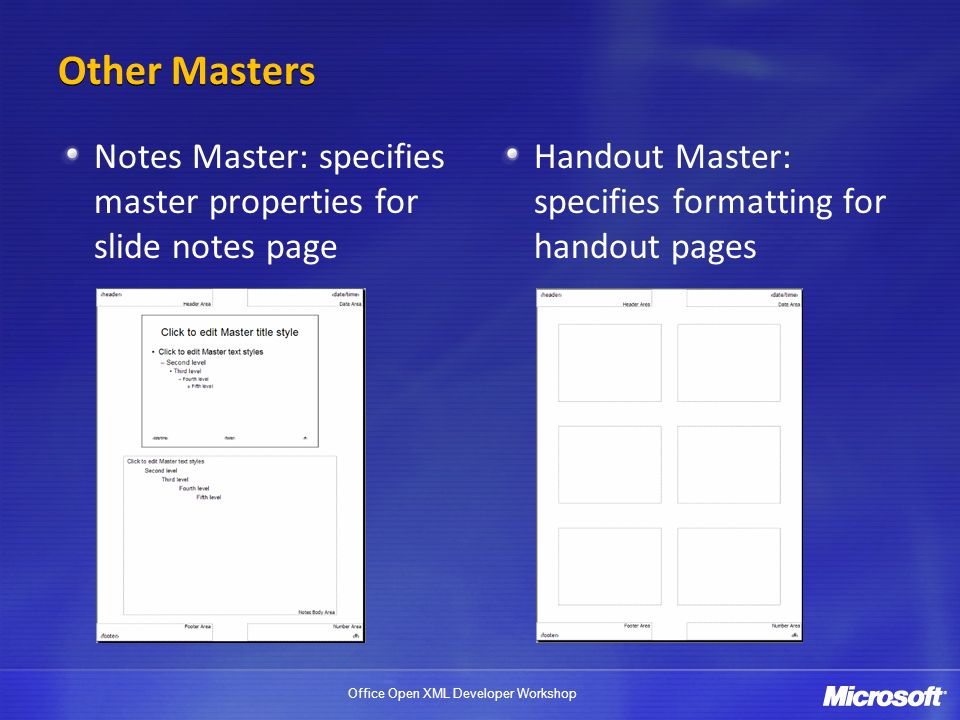 Other Masters Notes Master: specifies master properties for slide notes page.