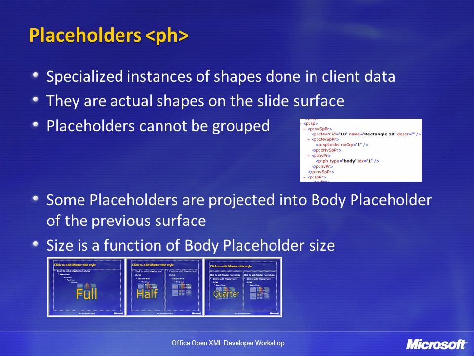 Placeholders <ph>