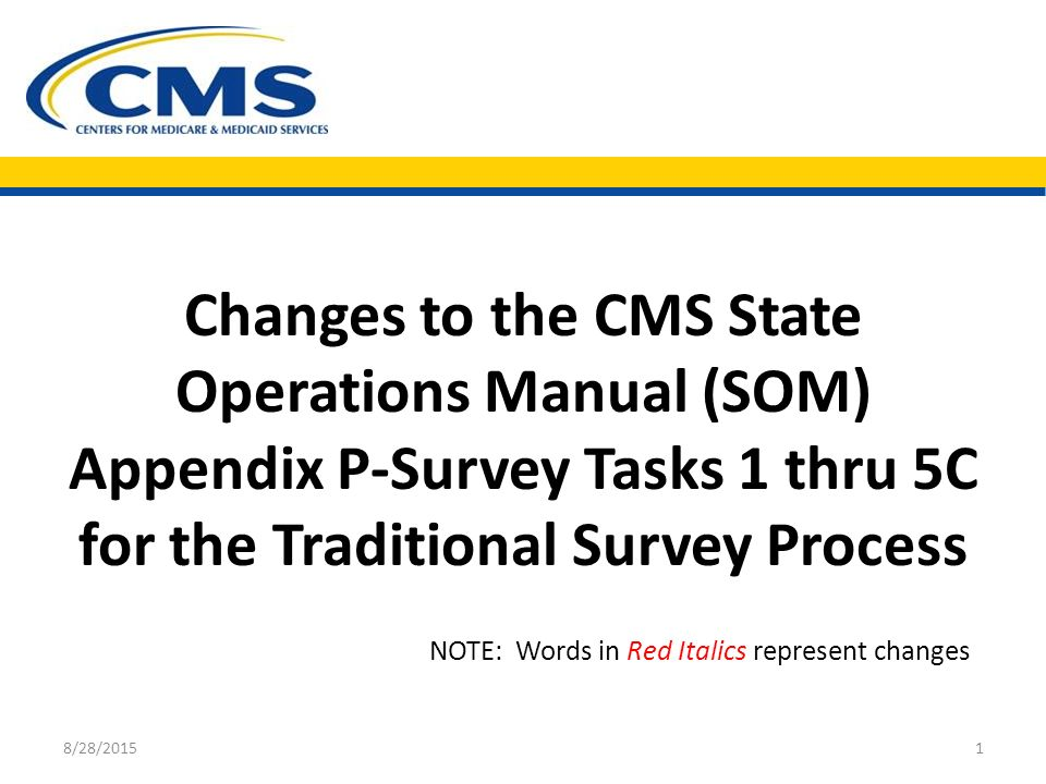 changes to the cms state operations manual som appendix p survey rh slideplayer com CMS Logo CMS Regulations and Guidance