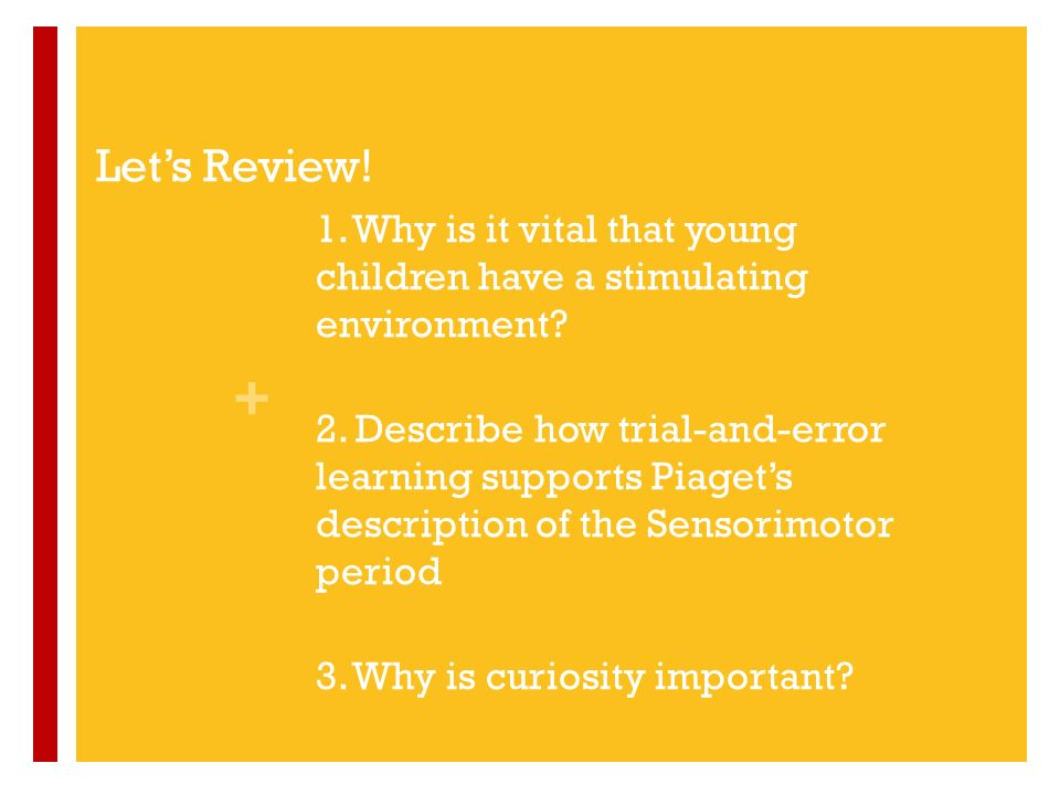 Let's Review! 1. Why is it vital that young children have a stimulating environment