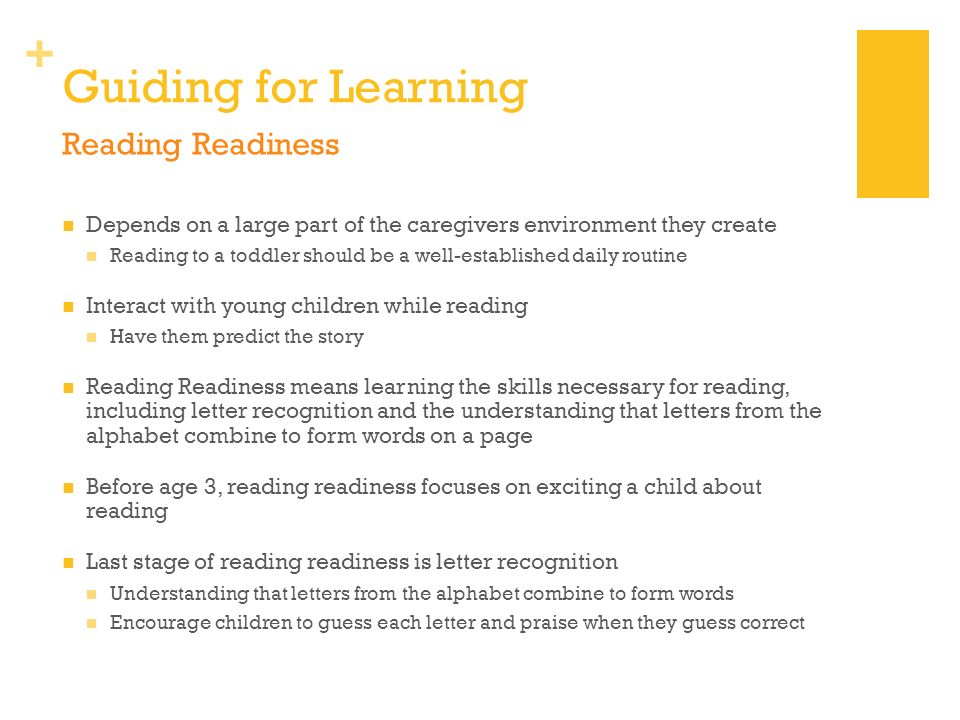 Guiding for Learning Reading Readiness