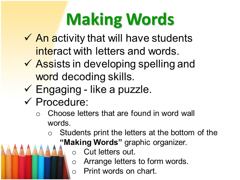 letter arranger into words word walls and pwim enhancing your language arts program 18465 | Making Words An activity that will have students interact with letters and words. Assists in developing spelling and word decoding skills.