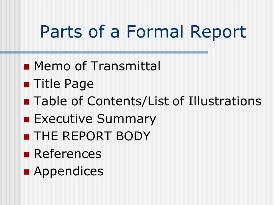 Parts of a Formal Report