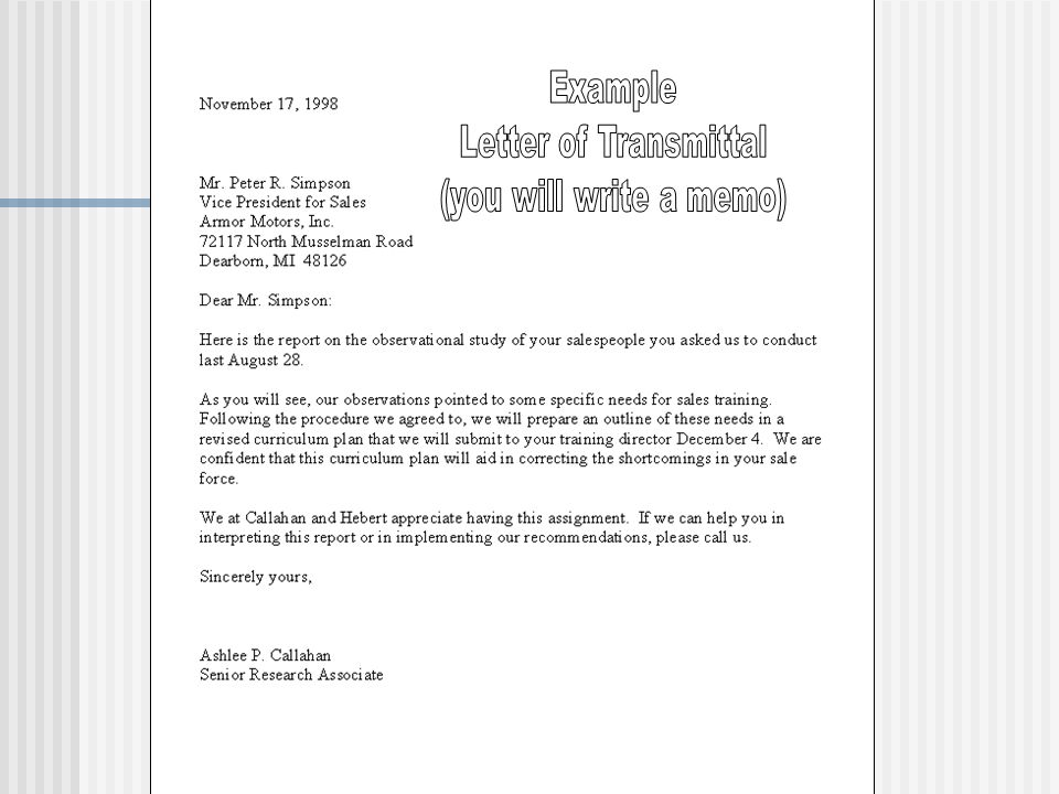 Example Letter of Transmittal (you will write a memo)