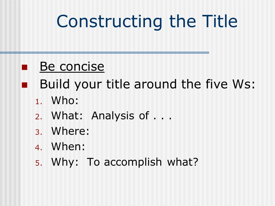 Constructing the Title