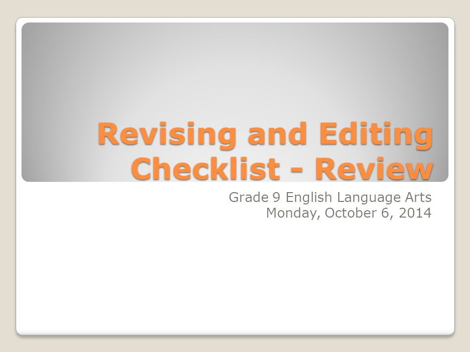 Revising and Editing Checklist - Review