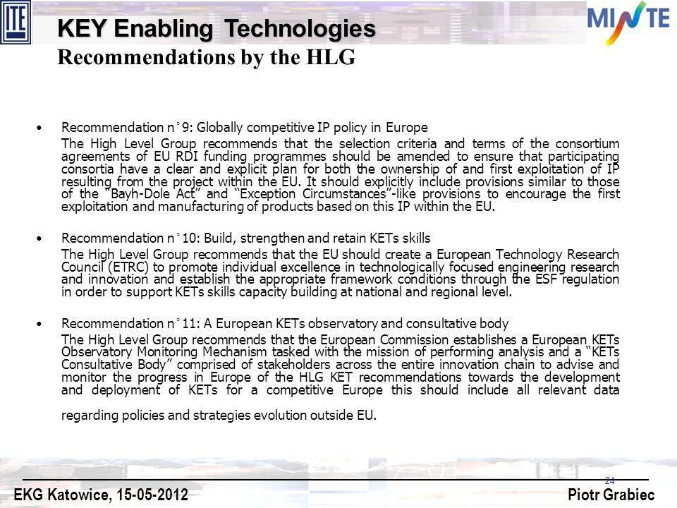 KEY Enabling Technologies Recommendations by the HLG