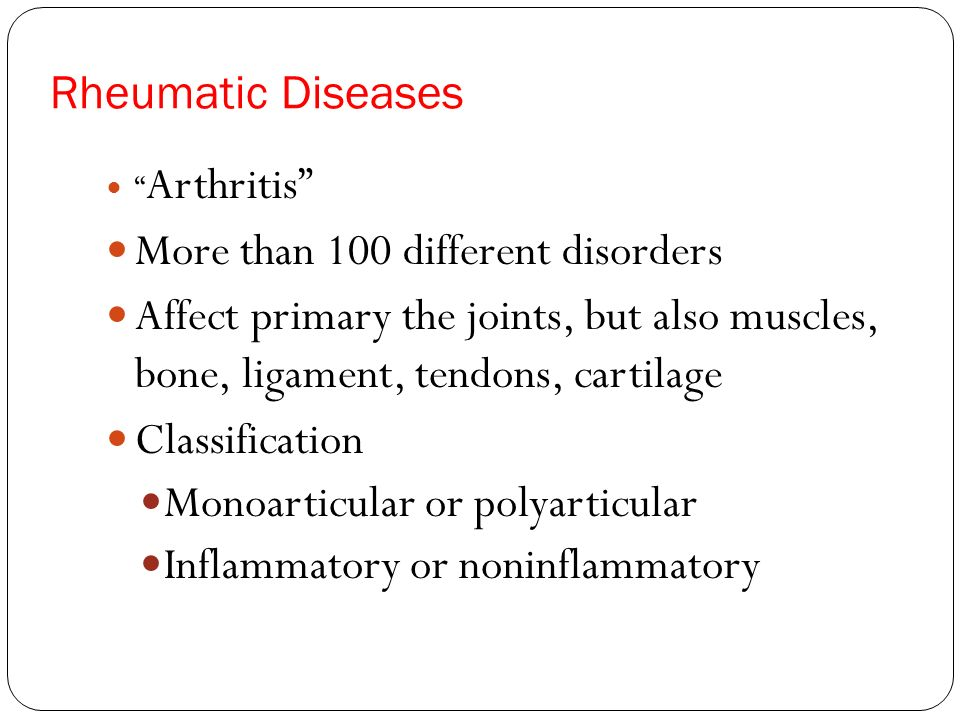 More than 100 different disorders
