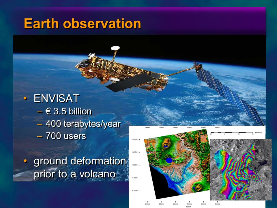 Earth observation ENVISAT ground deformation prior to a volcano
