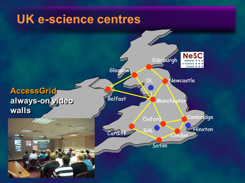 UK e-science centres AccessGrid always-on video walls Edinburgh