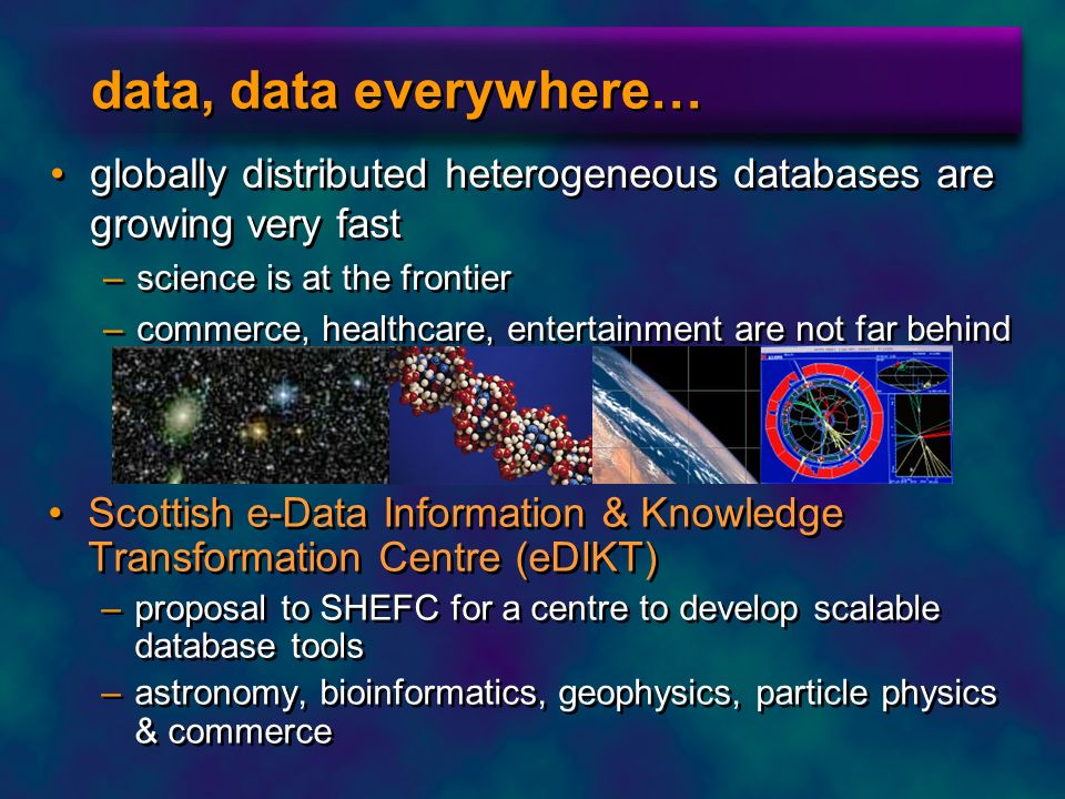 data, data everywhere… globally distributed heterogeneous databases are growing very fast. science is at the frontier.