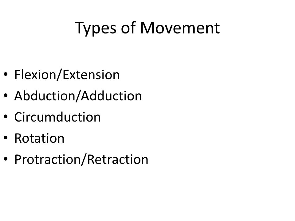 Types of Movement Flexion/Extension Abduction/Adduction Circumduction