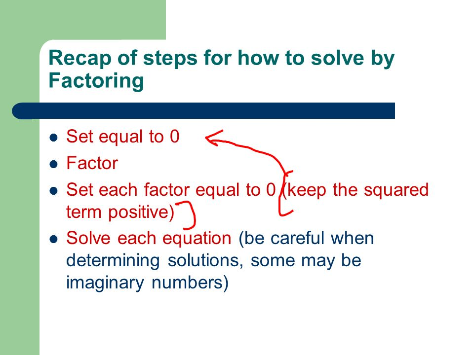 Recap of steps for how to solve by Factoring