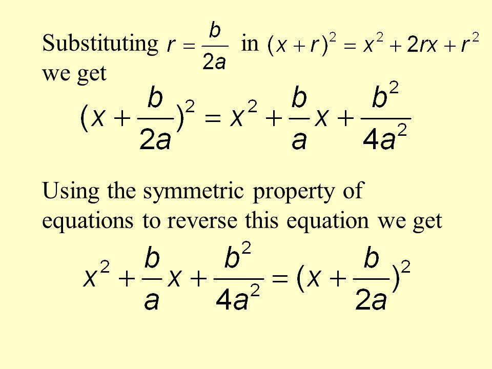 Substituting in we get Using the symmetric property of equations to reverse this equation we get