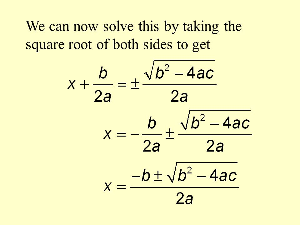 We can now solve this by taking the square root of both sides to get