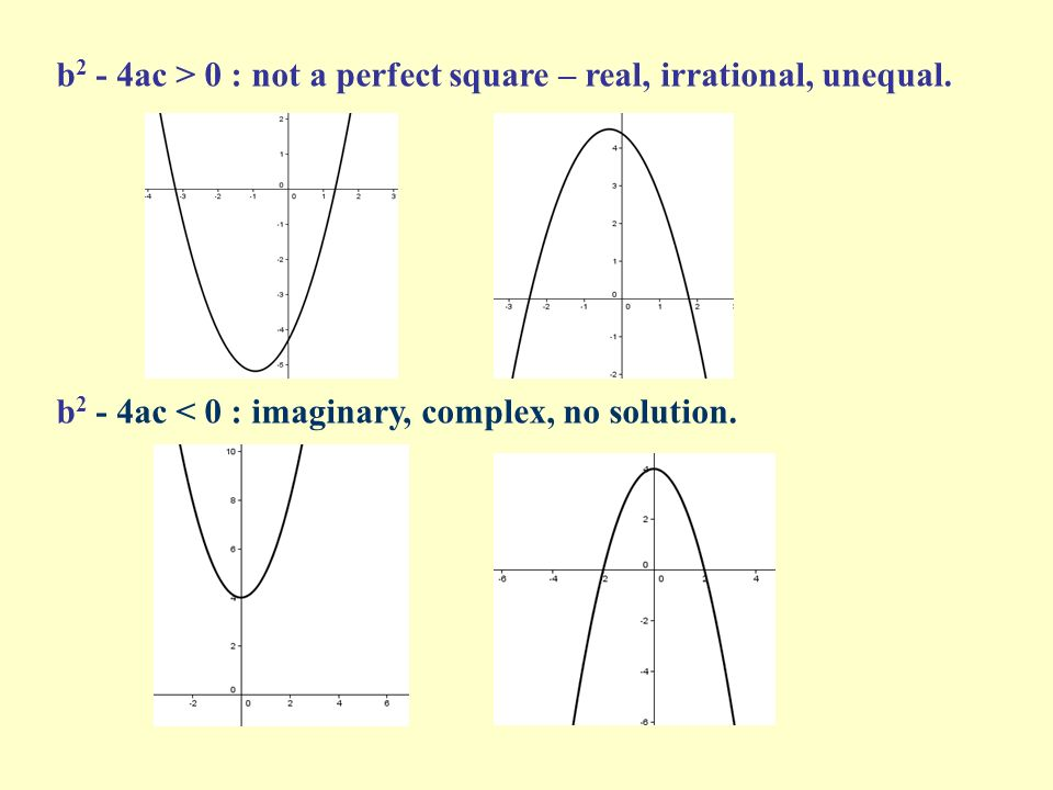 b2 - 4ac > 0 : not a perfect square – real, irrational, unequal.