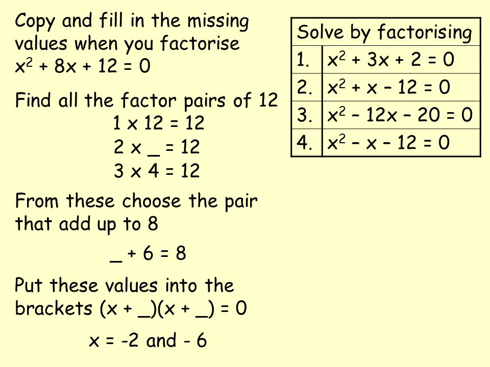 Copy and fill in the missing values when you factorise x2 + 8x + 12 = 0