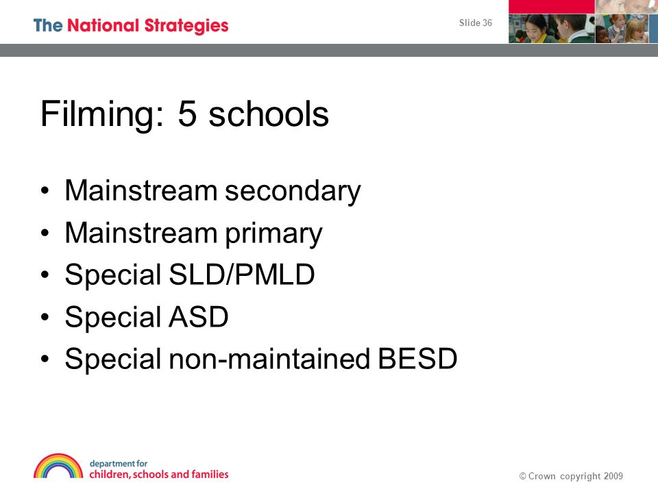 Filming: 5 schools Mainstream secondary Mainstream primary