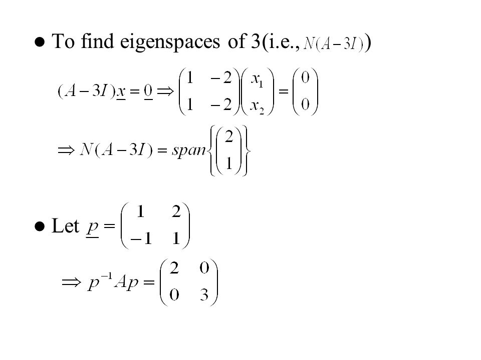 To find eigenspaces of 3(i.e., )