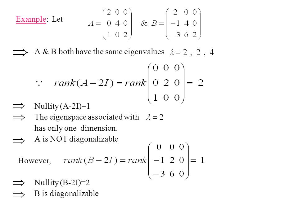 Example: Let A & B both have the same eigenvalues. Nullity (A-2I)=1. The eigenspace associated with.