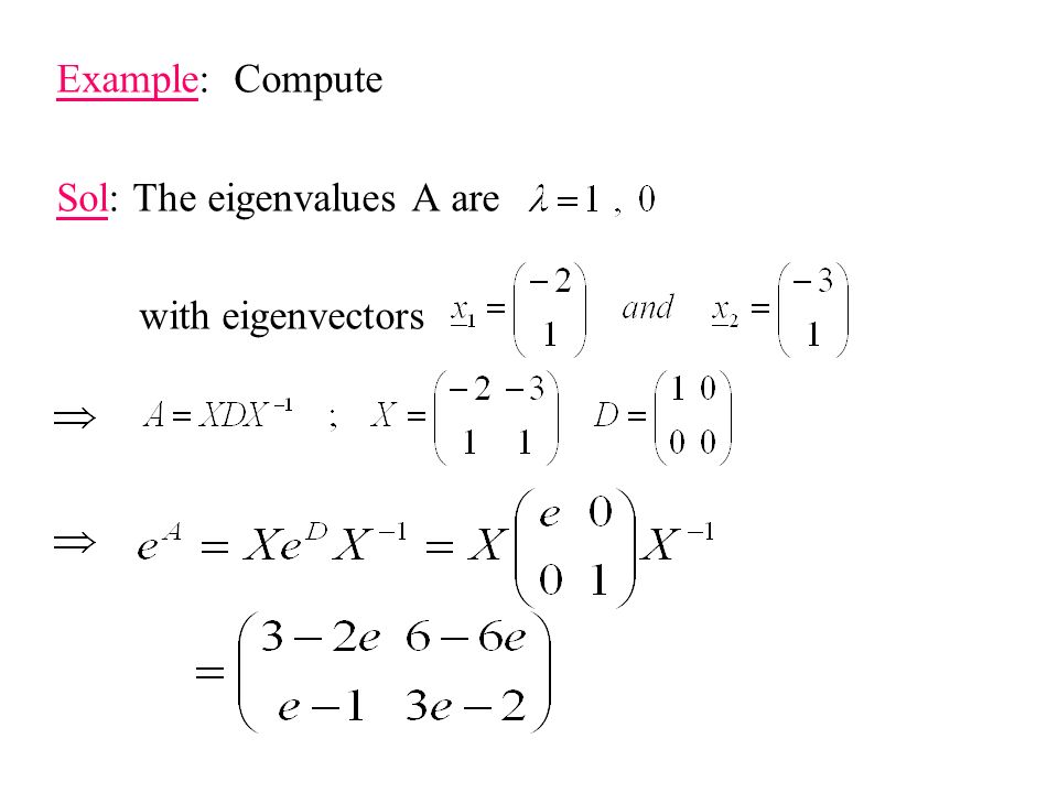 Example: Compute Sol: The eigenvalues A are with eigenvectors